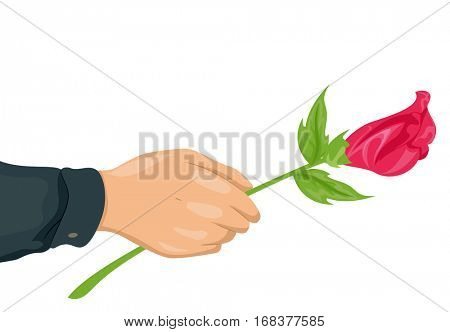 Cropped Illustration of a Man Offering a Long Stemmed Pink Rose to a Loved One