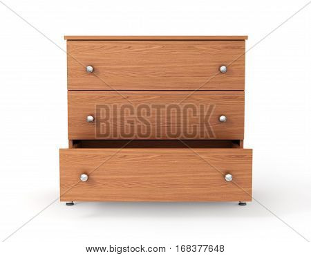 Cupboard with open drawer. 3d illustration .