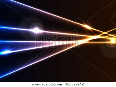 Abstract glowing neon laser rays effect graphic design. Colorful luminous vector background