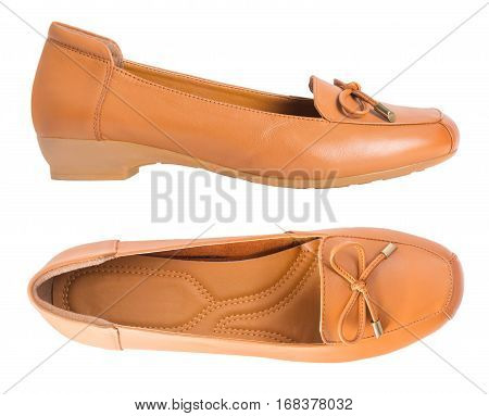 Beautiful vintage Pair of fashion woman leather shoes with side view profile isolated on white background.