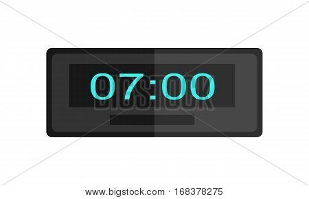 Clock logo isolated. Watch object, time office symbol. Flat style icon. Time watch logo. World time. Clock icon. Table clock. Electronic watch. Timer clock isolated. Office interior. Vector