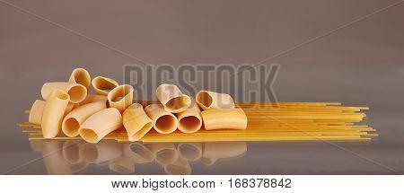 Italian Spaghetti On A Grey Background