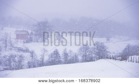 Landscape with hills and fields during snow storm, mountain Kozomor, Serbia