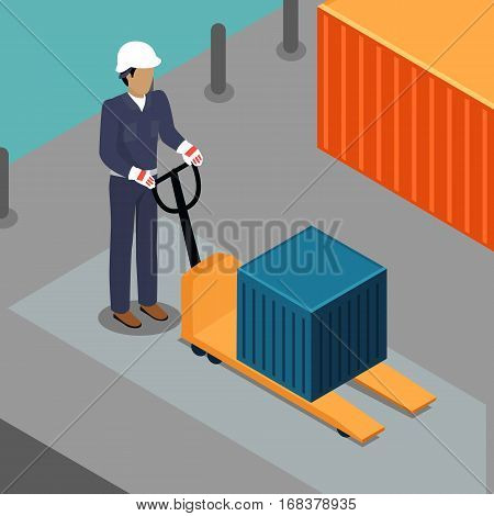 Warehouse worker with container on electric forklift. Dock worker with trolley. Loader in cap isolated. Man with hand truck. Loading and unloading cargo goods. Industrial shipping concept. Vector