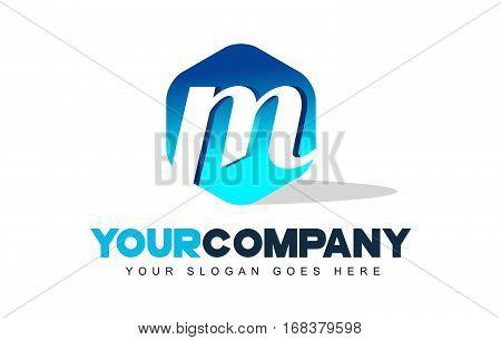m Letter Logo. Modern Hexagon Logo Shape Design Vector.