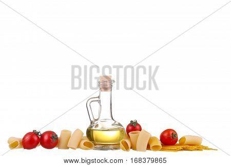 Pasta, Tomatoes, Basil . Isolated On White Background