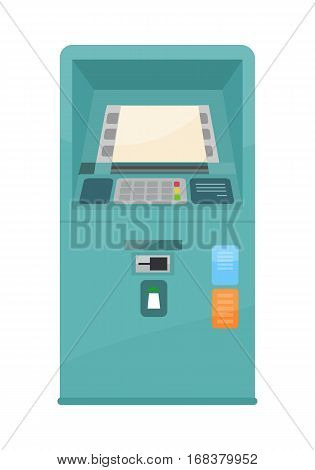 Automated teller machine vector in flat style design. International banking and credit service. Cash point terminal illustration for business, banking, financial concepts and infographics.