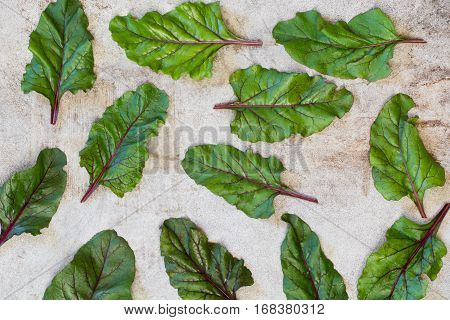 Raw Beetroot  Leaves  On Rustic Board. Top View.  Mangold.