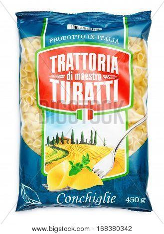 Top View Of Trattoria Di Maestro Turatti Pasta (conchiglie) Isolated On White
