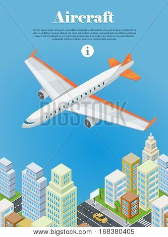 Aircraft flying over the city web banner. Aircraft machine. Airplane. Air travel concept flying plane. Transportation touristic aircraft. Aviation aircraft in clouds. Journey on airplane. Vector