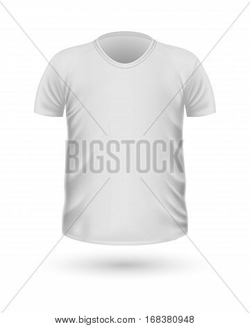 T-shirt template, front view. White colors. Realistic vector illustration in flat style. Sport clothing. Casual men wear. Cotton unisex polo outfit. Fashionable apparel.