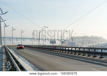 Overpass of embankment by Dnieper river on the Right bank in downtown Kiev, Ukraine