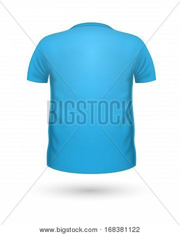 T-shirt template, back view. Blue color. Realistic vector illustration in flat style. Sport clothing. Casual men wear. Cotton unisex polo outfit. Fashionable apparel.