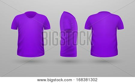 T-shirt template set, front, side, back view. Lilac color. Realistic vector illustration in flat style. Sport clothing. Casual men wear. Cotton unisex polo outfit. Fashionable apparel.