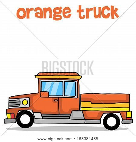 Illustration of orange truck transport collection stock