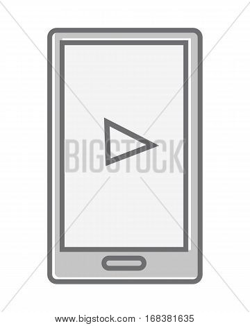 Mobile phone isolated on white. Video marketing. Approaches, methods and measures to promote products and services based on video. Online video, internet technology and media social marketing