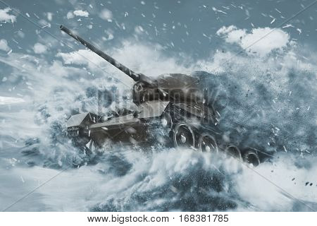 Battle Tank is moving in the snow storm. Mission in the cold snow