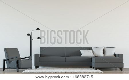 Modern living room interior with Black and white 3d rendering Image.There are minimalist style white empty wall and dark grey furniture