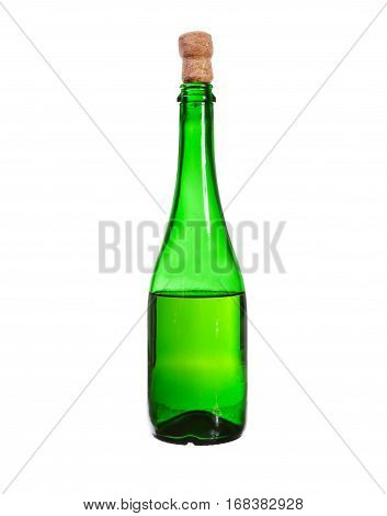 Dark Green Glass Bottle With White Wine Isolated On A White Background