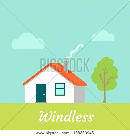 Windless weather. No wind. Countryside building. Modern cottage in sunny windless day. House without blowing any wind. Calm, sunny weather near residence. Vector illustration in flat style