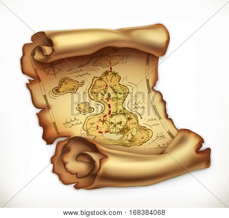 Old map treasure island. 3d vector icon