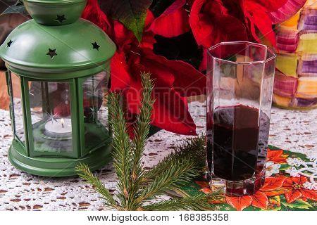 Borscht Tortellini. A traditional Polish Christmas dish on a table.