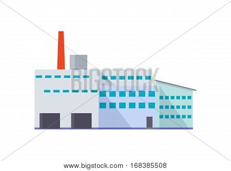 Factory building with pipe in flat. Industrial factory building concept. Industrial plant with pipe. Plant icon. Factory icon. Isolated object in flat design on white background.