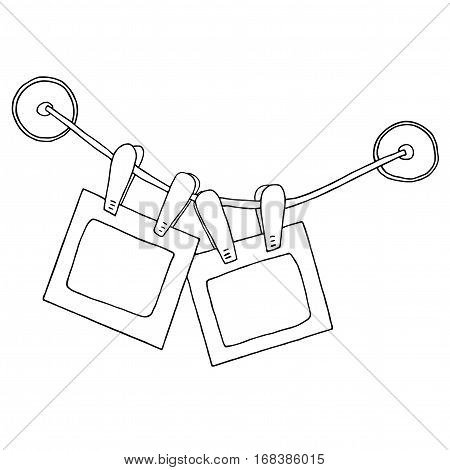 Two hanging photo frames with clips on the rope and silicone suction cups. Sketch graphic illustration. Isolated on white background.