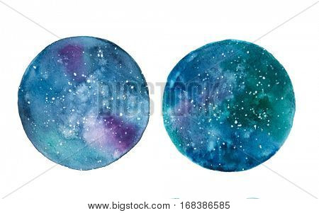 Galaxy watercolor circles isolated on a white background