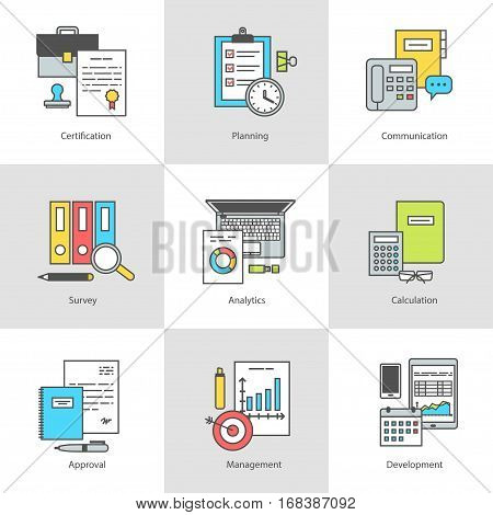 Conceptual icon set office objects marketing, management, and working with documents. Modern design with flat icon contour for web sites and applications, vector illustration