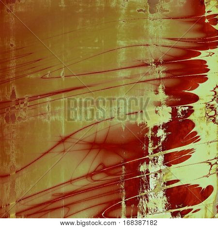 Old style decorative composition or designed vintage template with textured grunge elements and different color patterns: yellow (beige); brown; red (orange); gray; pink