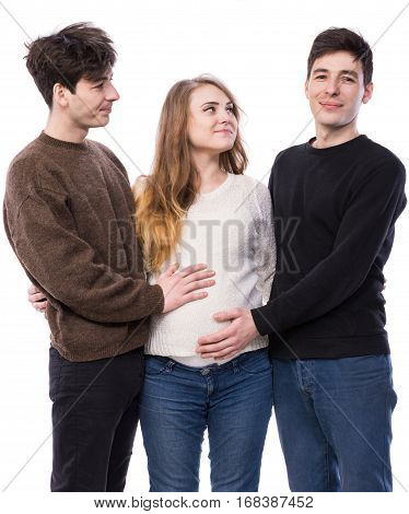 Young Pregnant Woman Posing With Two Young Man