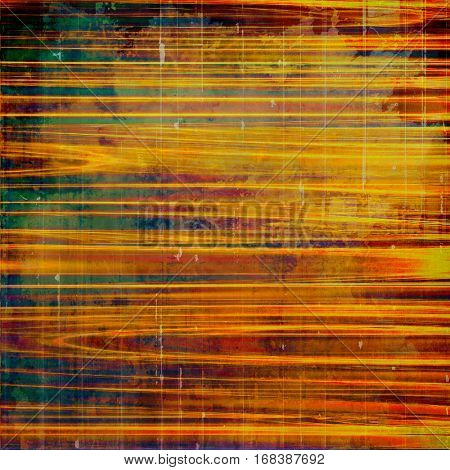 Colorful grunge texture or background with vintage style elements and different color patterns: yellow (beige); brown; green; blue; red (orange); pink