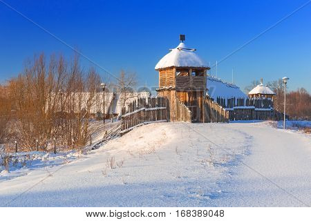 Ancient trading factory village at winter in Pruszcz Gdanski, Poland