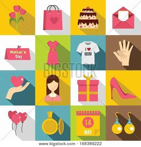 Mothers day icons set. Flat illustration of 16 Mothers day vector icons for web