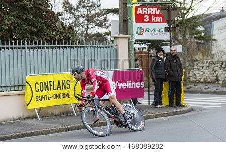 Conflans-Sainte-HonorineFrance-March 62016: The French cyclist Cyril Lemoine of Cofidis Team riding during the prologue stage of Paris-Nice 2016.