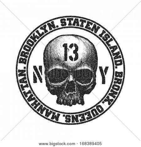 Black and white skull. Vector illustration.