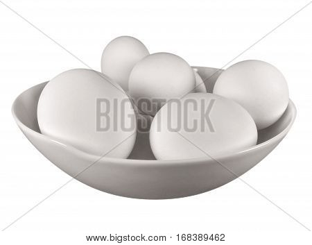 Boiled eggs in the bowl isolated on white background. Clipping path included