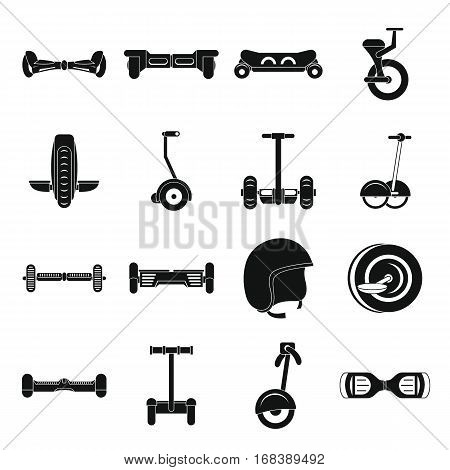 Balancing scooter icons set. Simple illustration of 16 balancing scooter vector icons for web