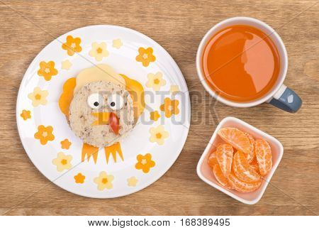 Funny sandwich for kids in shape of a bird