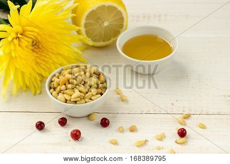 Pine Nuts With Ginger, Lemon, Honey And Cowberries