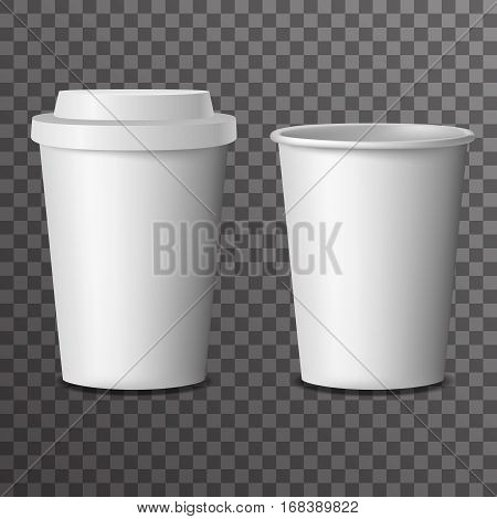 Coffee takeaway cup cover 3d realistic mockup transparent background design vector illustration