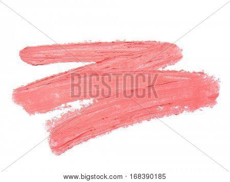 Lipstick smear sample on white background