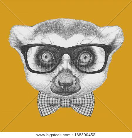 Portrait of Lemur with glasses and bow tie. Hand drawn illustration.