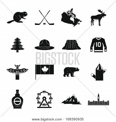Canada travel icons set. Simple illustration of 16 Canada travel vector icons for web