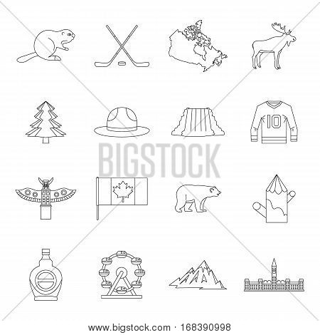 Canada travel icons set. Outline illustration of 16 Canada travel vector icons for web