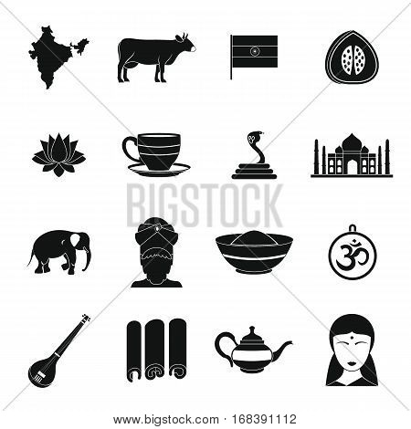 India travel icons set. Simple illustration of 16 India travel vector icons for web