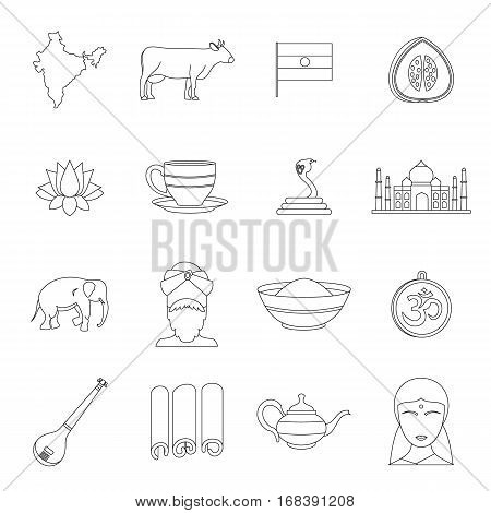 India travel icons set. Outline illustration of 16 India travel vector icons for web