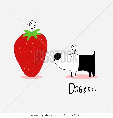 Dog & Bird and a giant Strawberryvector illustration