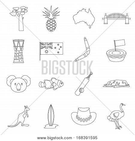 Australia travel icons set. Outline illustration of 16 Australia travel vector icons for web